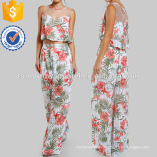 Tropical Print Mesh Crop & Matching Pant Set Manufacture Wholesale Fashion Women Apparel (TA4112SS)