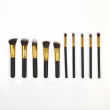 New Trend Wholesale OEM Black and Gold Makeup Brushes Tool Set  10pcs Cosmetic Handle Custom Eyeshadow Makeup Brushes Set