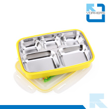 5 Dividers Stainless Steel Colourful Lunch Box Bento for Kids Food Container
