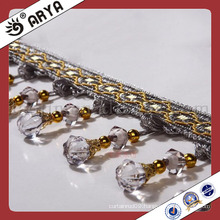handmade curtain beaded Fringe Trimming with Clear Beads for Curtain also for Home Textile,Valance,Sofa Accessory Decoration