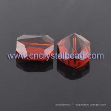 Pierre rouge forme des perles de verre cristal en vrac