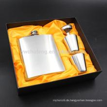 7oz tragbare Flachmann Set Edelstahl Flagon Weinflasche Geschenkbox Tasche