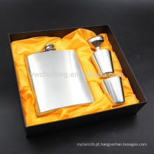 Bolso inflável ajustado da caixa de presente da garrafa de vinho do jarro do aço inoxidável portátil anca da garrafa 7oz