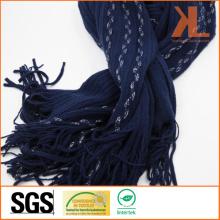 100% Acrylic Fashion Navy Warp Knitted Scarf with Fringe