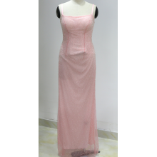 women spaghetti strap pink long elegant evening dress