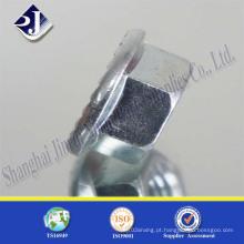 Porca de flange hexagonal com zinco brilhante