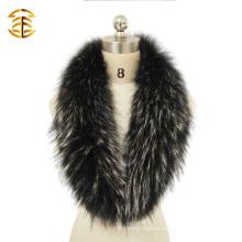 Blanco y negro Genuino guante de piel de mapache collar para el cuello