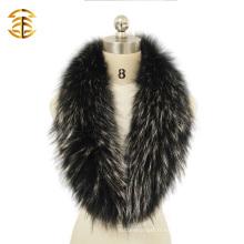 Collier de fourrure de raccoon véritable blanc et noir pour collier