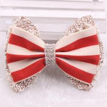 Stripe Fabric Bowknot Hair Clip for Wedding