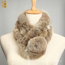 Girl's Short Rabbit Fur Scarf With Big Ball Cheap Grass Rabbit Fur collar