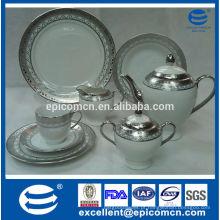 Conjunto de chá de porcelana banhado a prata estilo dubai estilo luxo