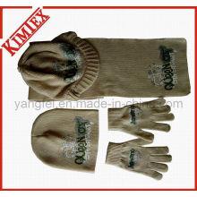 100% Acrílico Moda Hat Scarf Gove Knitting Set