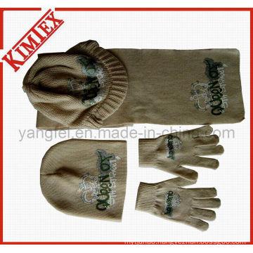 100% Acrylic Fashion Hat Scarf Gove Knitting Set