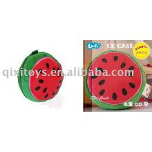 caixa de CD melancia, suporte de CD de fruta de pelúcia e recheadas