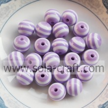 500Pcs 10MM Light Purple White Striped Round Chic Glass Shamballa Loose Gemstone Spacer Bracelet Bead