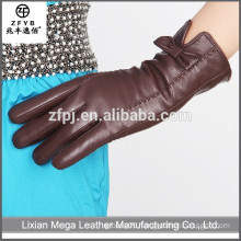 China wholesale custom fit ladies brown color leather gloves