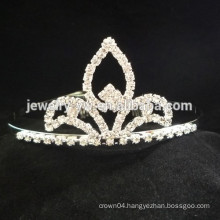 fashion metal silver plated crown shape crystal headband