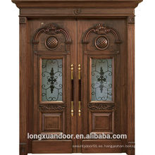 Diseño de madera de la puerta de lujo de la casa, puerta principal de madera de la entrada, diseño de la puerta delantera