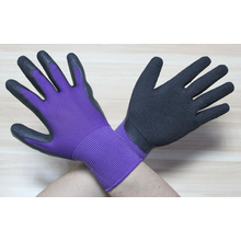 7 gauge wrinkle finish acrylic knitted gloves coated with black latex