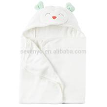 Serviette de bain à capuchon de bébé de style d'ours blanc de sourire, serviette à capuchon de coton 100% extra douce
