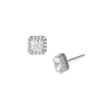 Silver Micro Pave Boucles d'Oreilles Carrées Boucles D'oreilles