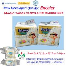 Ghana Mercado Alta calidad transpirable cinta mágica Cinta de velcro Tela-como pañal trasero de la cinta Pañales desechables baratos del bebé