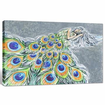 Impresión para mujer de la lona del pavo real / decoración abstracta de la sala de estar / arte dropshipping de la pintura al óleo