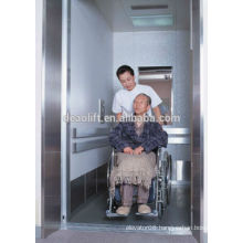 Hospital machine room bed elevator with opposite door