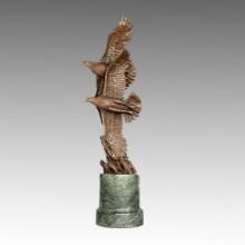 Estatua de Animal Doble Águila Volando Escultura de Bronce, Juno Tpal-322