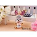 creative cute crystal pig cartoon exquisite mini animal full rhinestone key chain metal bag hanger pendant chain wholesale