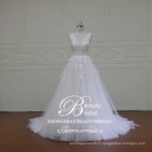 Chinoise en gros alibaba v-cou & v-back dentelle robe de mariée princesse princesse a-ligne robe