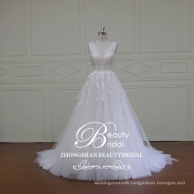 Chinese wholesale alibaba v-neck & v-back lace bridal gown popular princess a-line gown