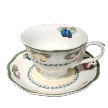 European style 15PCS  fruit flower afternoon dinnerware set for 6 person porcelain coffee cup and saucer  Tea Set