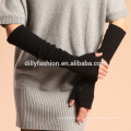 Fashion winter long elbow women cashmere argyle pattern knit fingerless gloves