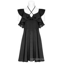 PUNK RAVE women's  off shoulder dress double lotus leaf edge bandage black dress OPQ-373