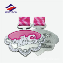High quality silver substrate colourful ribbon metal plated medal