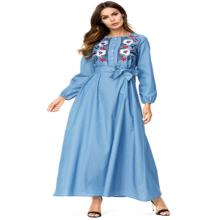 Middle eastern fashion modern women plus size embroidery flower Islamic long denim Muslim clothing dress