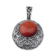 GoldStone 20MM Cabochon Alloy Gemstone Pendant