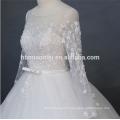 Luxe perlé 2018 nouvelle mode sol longueur robe de mariée bouffante manches longues avec un design de corde