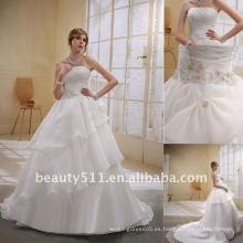 Astergarden elegante de organza volantes sin tirantes de una línea de boda de novia DressAS014