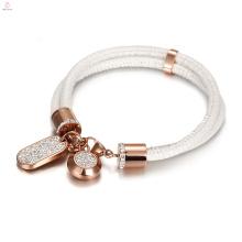 Cristal Rose Gold Aço Inoxidável Camada Dupla Branco Cobra Pulseira De Couro Pulseira