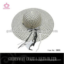Fashion lady straw boater hat paper hats for ladies