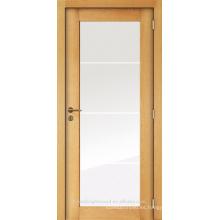 Chapeado de roble interior inacabado diseño de puerta de madera vidrio