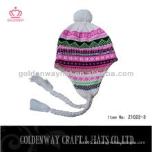 Sombreros calientes del invierno de la manera para la galleta simple barata hecha a mano del ganchillo de la señora para la señora linda para las mujeres