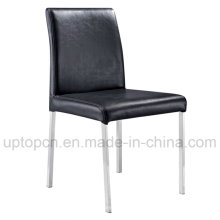 Commercial Black Leather Chair with Stainless Steel Legs (SP-LC242)