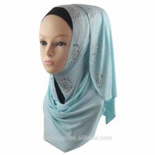 Fornecedor cor da fábrica planície impressa algodão hijab muçulmano glitter jersey oração shimmer pedra estiramento jersey lenço hijab