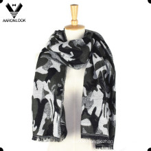 Acrylic Woven Jacquard Camouflage Scarf with Raw Edges