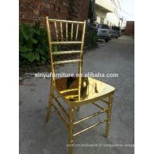 Chaise en aluminium doré en chiavari pour location de mariage XYN2780