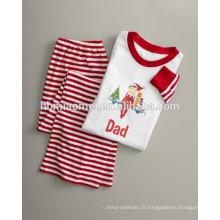2016 chaud vend la couleur rouge et blanche dépouillé de pyjamas de famille de noël