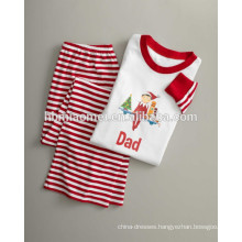 2016 hot sells red and white color stripped family christmas pajamas
